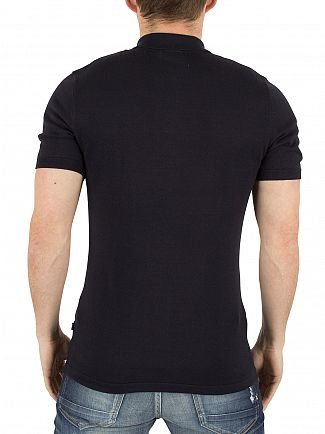 J Lindeberg Navy Mikael Knitted Polo Shirt