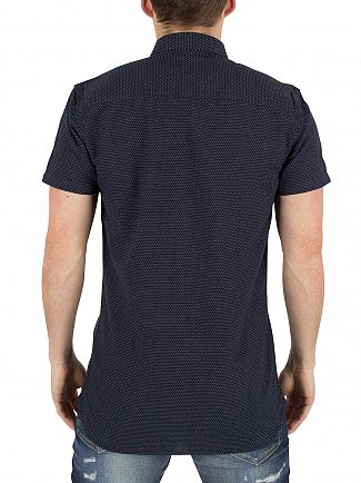 Minimum Dark Navy Bellino Shortsleeved Dots Shirt