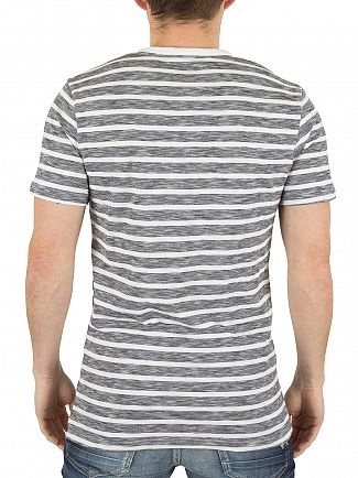 Minimum Dark Navy Johnston Striped Logo T-Shirt