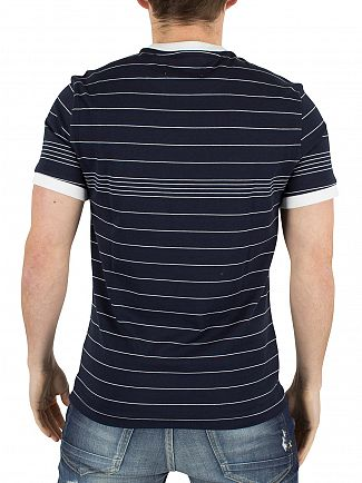 Original Penguin Dark Sapphire Engineered Fine Stripe Logo T-Shirt