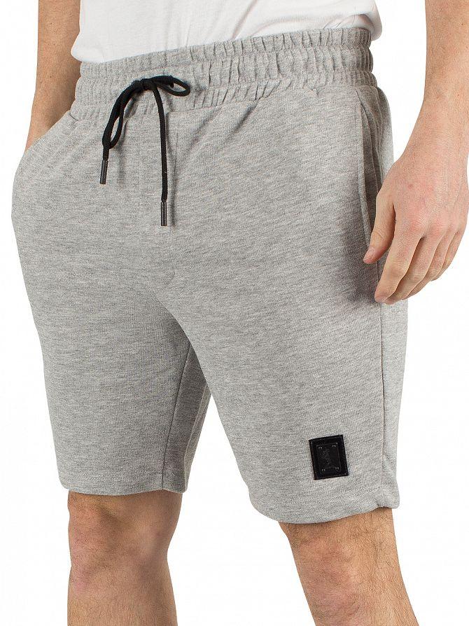 Religion Grey Marl Badge Logo Shorts