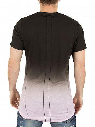 Religion Black/Baby Pink Gradient Stripe Fade Logo T-Shirt