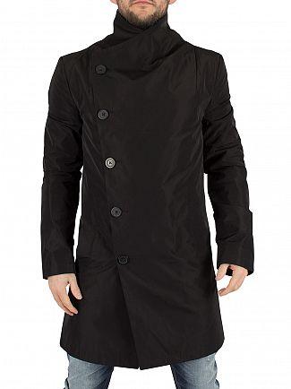 Religion Black Nord Asymmetric Button Up Coat