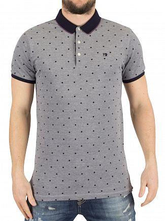 Scotch & Soda Navy Two-Tone Pique Polka Dot Logo Polo Shirt