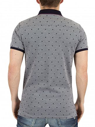 Scotch & Soda Navy Two-Tone Pique Polka Dot Logo Polo Shirt