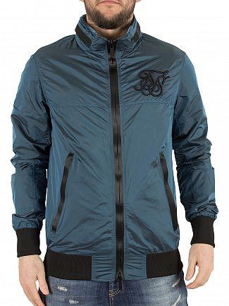 Sik Silk Blue Erosion Logo Bomber Jacket