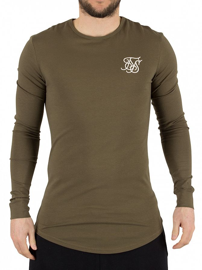 Sik Silk Khaki Gym Logo Longsleeved T-Shirt