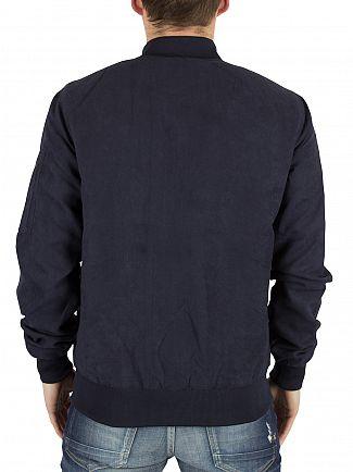 Sik Silk Navy Suede Logo Bomber Jacket