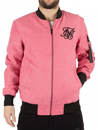 Sik Silk Dusty Pink Suede Logo Bomber Jacket
