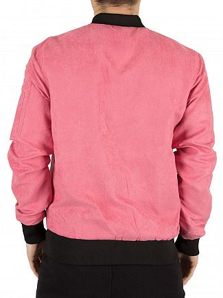 Sik Silk Dusty Pink Suede Logo Bomber Jacket