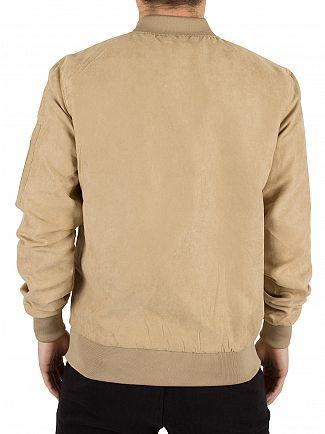 Sik Silk Beige Suede Logo Bomber Jacket