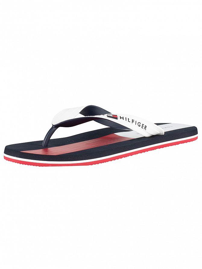 Tommy Hilfiger White Logo Flip Flops