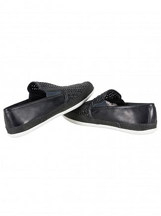 Base London Navy Stage Weave Loafers