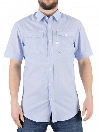 G-Star White/Lavendel Blue Landoh Slim Fit Shirt