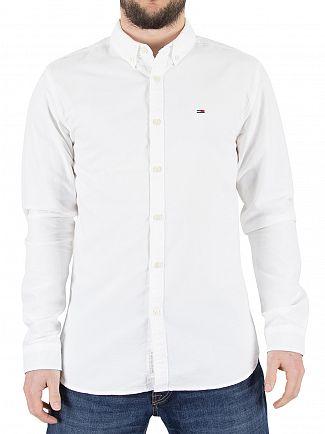 Tommy Hilfiger Denim Classic White Basic Solid Logo Shirt