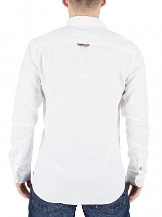 Hilfiger Denim Classic White Basic Solid Logo Shirt