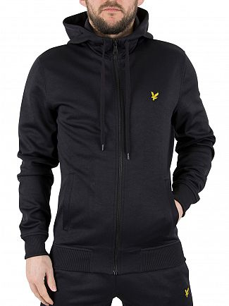 Lyle & Scott True Black Funnel Neck Tricot Zip Logo Hoodie