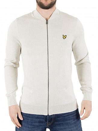 Lyle & Scott Off White Textured Yoke Detail 12GG Bomber Jacket