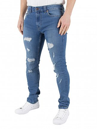 Only & Sons Light Blue Denim Warp Destroy 7189 Ripped Skinny Jeans