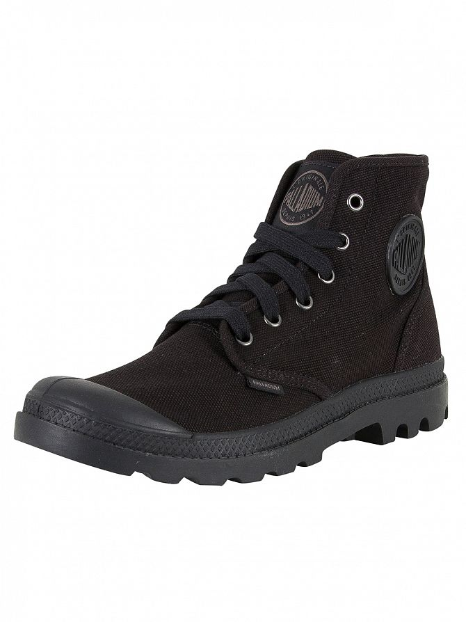palladium black black pa hi boots stand out