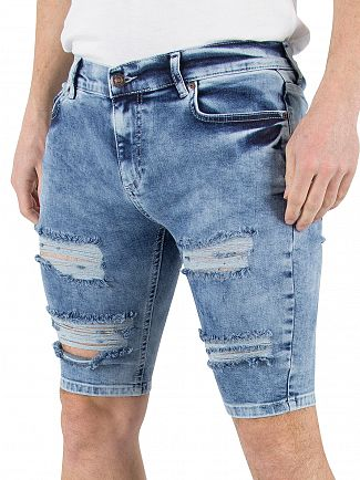 Sik Silk Blue Acid Wash Distressed Ripped Denim Shorts
