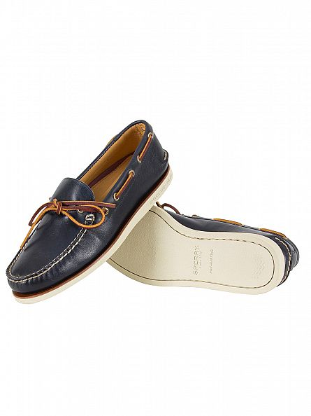 sperry top sider navy gold a 0 1 eye wedge boat shoes