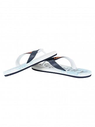 Superdry Blue Wave AOP Logo Flip Flops