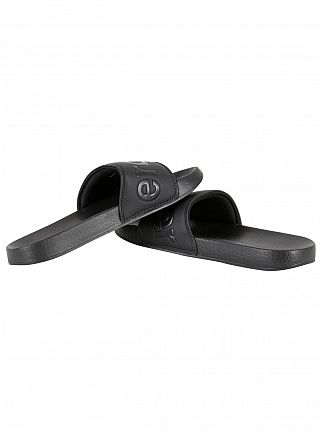 Superdry Black Pool Slide Logo Flip Flops
