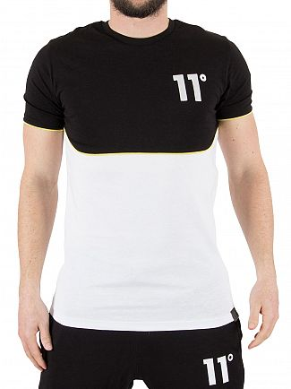 11 Degrees Yellow Piping Curved Cut And Cut Panel T-Shirt