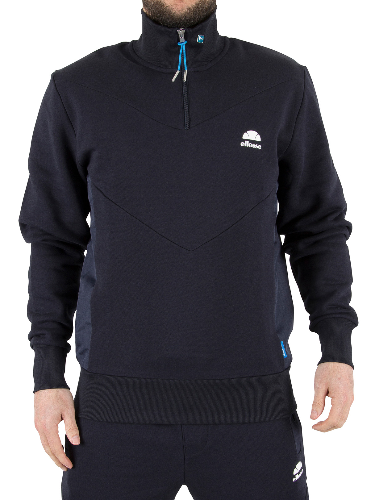 ellesse herren bertini funnel zip sweatshirt blau ebay. Black Bedroom Furniture Sets. Home Design Ideas