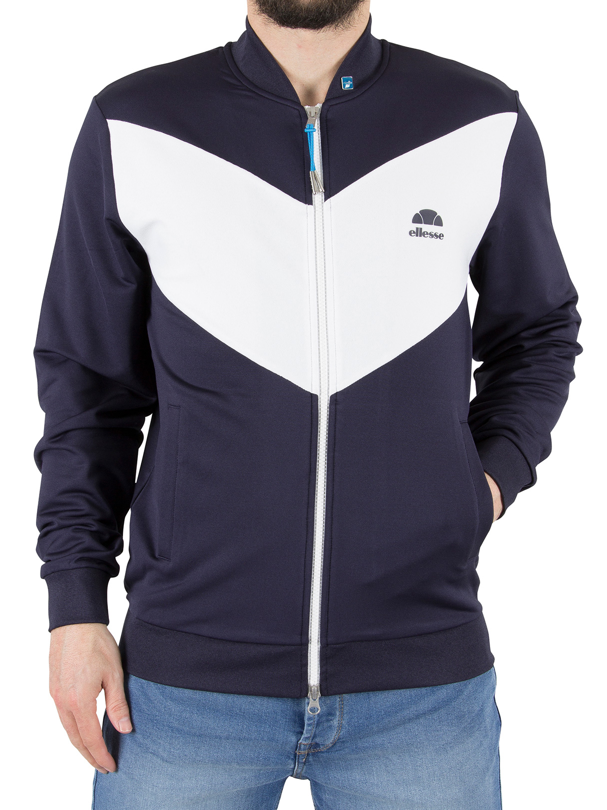 ellesse herren riva jersey logo bomberjacke blau ebay. Black Bedroom Furniture Sets. Home Design Ideas