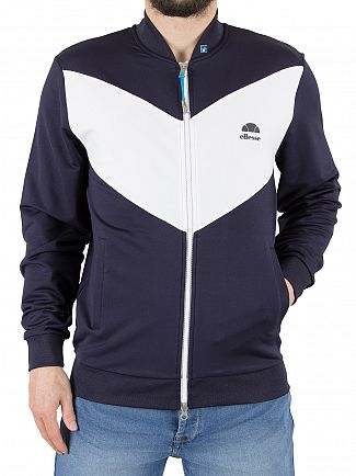 Ellesse French Navy/White Riva Jersey Logo Bomber Jacket