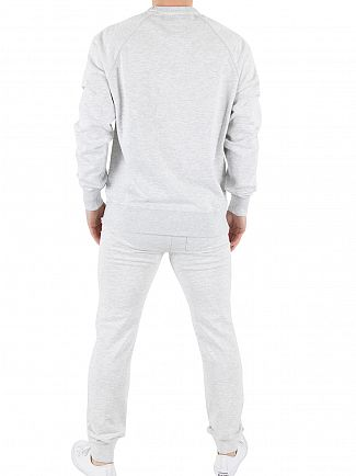 Franklin & Marshall Light Grey Melange Chest Logo Marled Sweatshirt Tracksuit