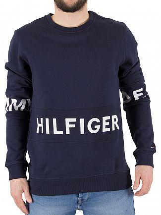 Hilfiger Denim Black Iris Navy Basic Text Panel Sweatshirt