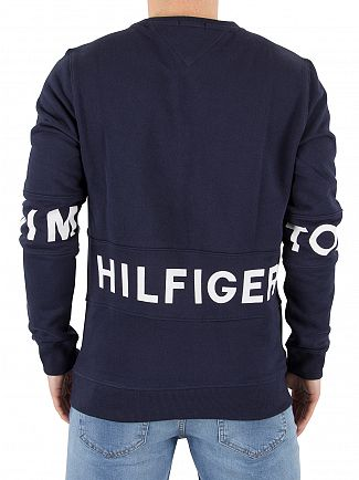 Hilfiger Denim Black Iris Navy Basic Text Panel Sweatshirt