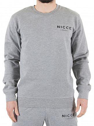 Nicce London Grey Chest Logo Marled Sweatshirt