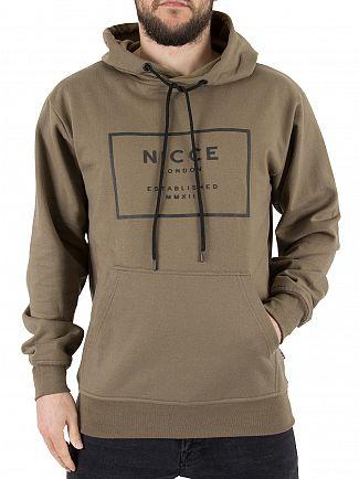 Nicce London Khaki EST-13 Box Logo Hoodie