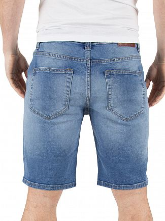 Only & Sons Medium Blue Denim Loom 5952 Slim Fit Denim Shorts