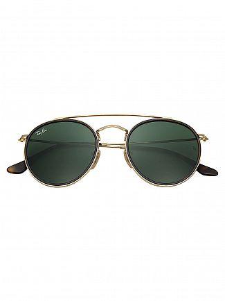 Ray-Ban Black/Gold Round Double Bridge Metal Sunglasses