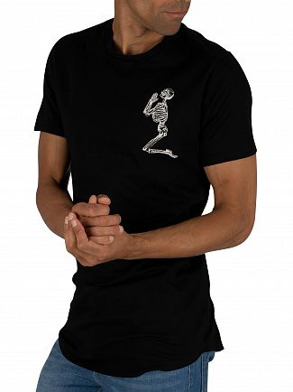 Religion Black Longline Praying Skeleton T-Shirt
