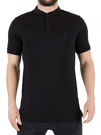 Religion Black Ormont Collarless Logo Polo Shirt