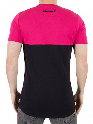 11 Degrees Berry/Black Curved Cut And Sew Logo T-Shirt