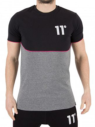 11 Degrees Black/Charcoal Cut And Sew Pipping Logo T-Shirt