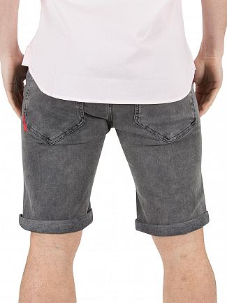11 Degrees Washed Charcoal Destrukt Ripped Denim Shorts