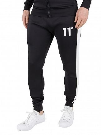 11 Degrees Black/White Poly Logo Stripe Joggers