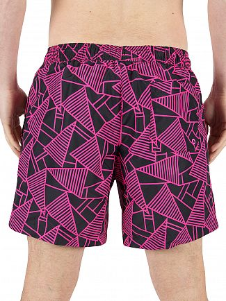 Calvin Klein Black/Pink Abstract Print Logo Swimshorts