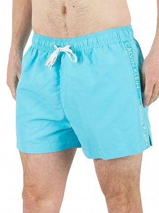 Calvin Klein Blue Atoll Vertical Stripe Logo Swimshorts