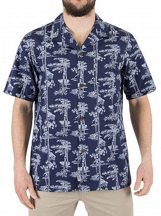 Carhartt Wip Blue/White Pine Hawaii Short Sleeved Shirt