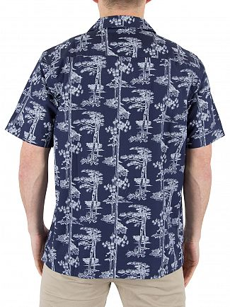 Carhartt WIP Blue/White Pine Hawaii Short Sleeved Shirt