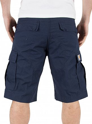 Carhartt WIP Navy Rinsed Regular Fit Cargo Logo Shorts